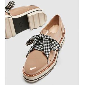 ZARA Faux Patent Derby Shoes